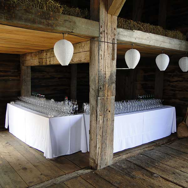 Serve drinks from our Bar rental for your wedding or special event. Table & Chair rentals from Columbia Tent Rentals