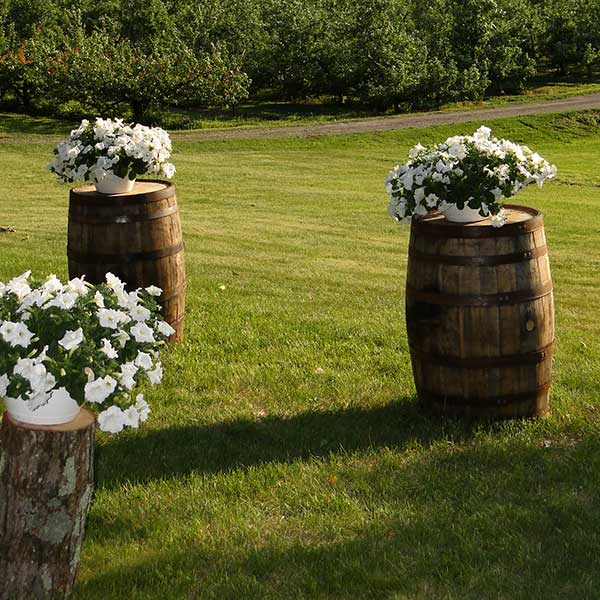 Rent wine barrels to make a unique statement at your wedding venue. Table & Chair rentals from Columbia Tent Rentals