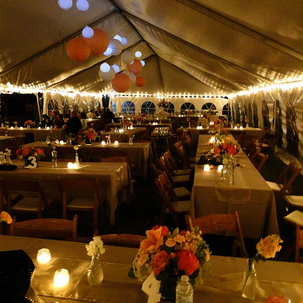 Edison Bulbs are just one of the many options found in Columbia Tent Rentals Event Lighting Rental options