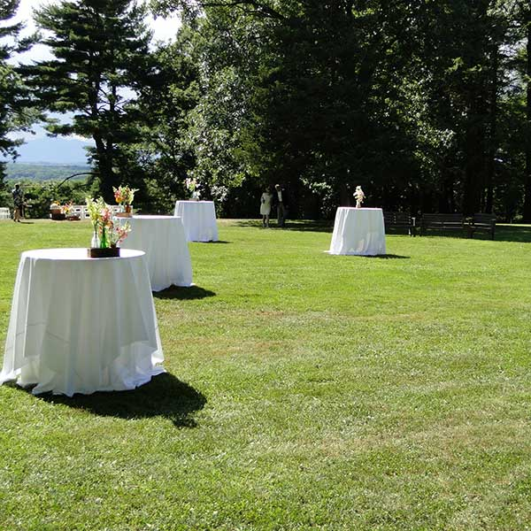 Round tables for your outdoor wedding or special event. Table & Chair rentals from Columbia Tent Rentals