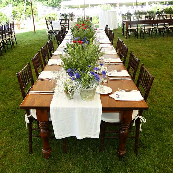 Farm banquet tables for your wedding or special event. Table & Chair rentals from Columbia Tent Rentals