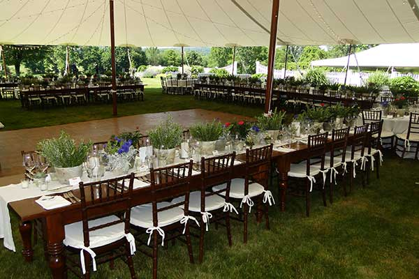 We offer table settings as part of our wedding rentals package