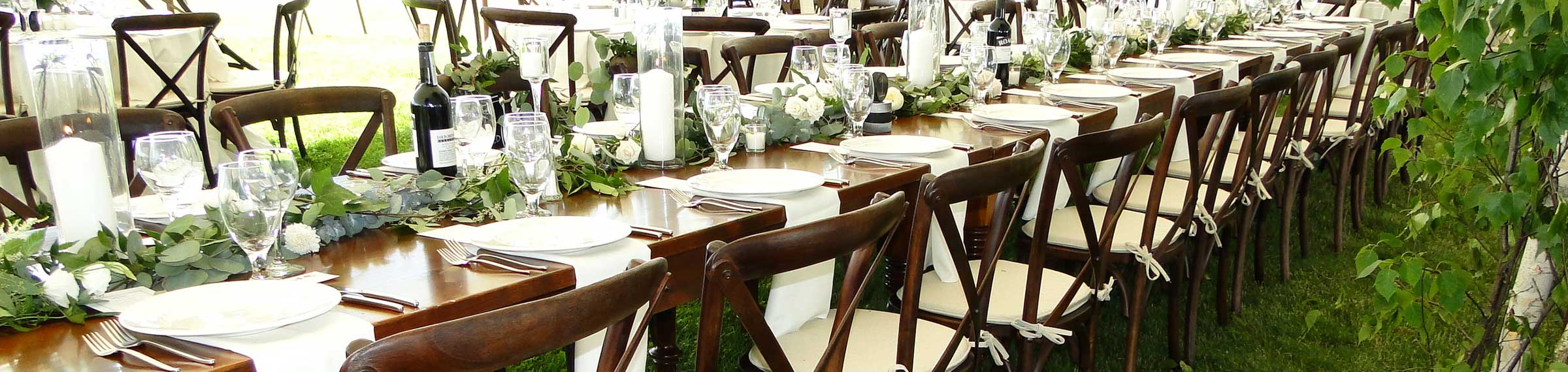 Columbia Tent Rentals has banquet tables for your wedding or office party