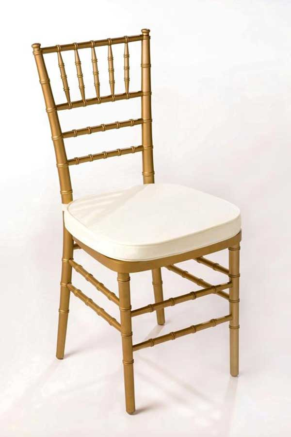 Table & Chair rentals: Chivari Ballroom Gold with cushion chair rental from Columbia Tent Rentals