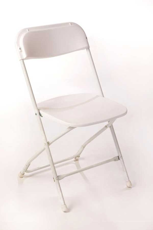 Tables & Chairs rental: White Samsonite chair rental from Columbia Tent Rentals