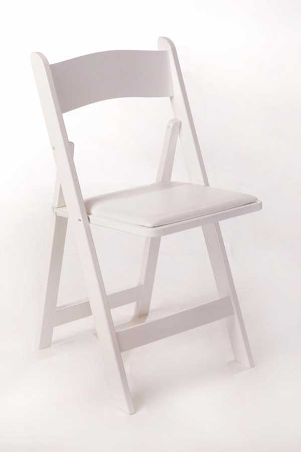 Table & Chair rental: white wedding chair rental from Columbia Tent Rentals