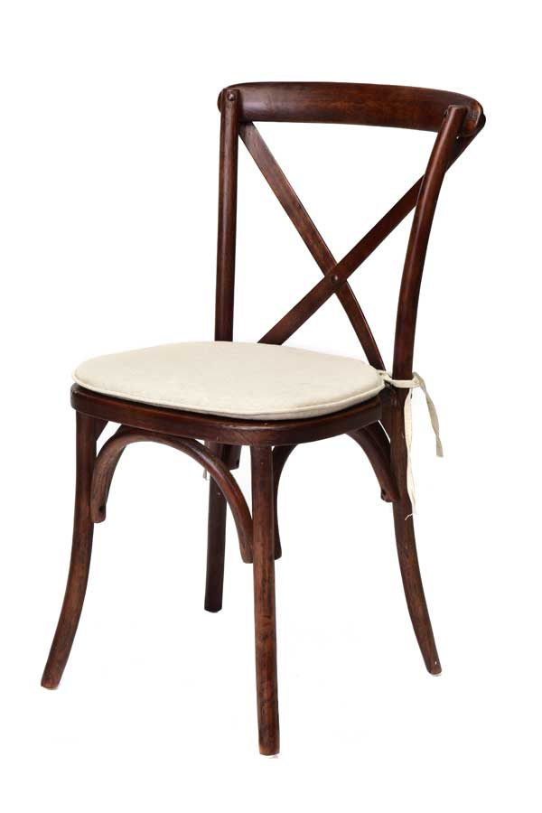 Table & Chair rentals: cross back red mahogany with natural cushion chair rental from Columbia Tent Rentals