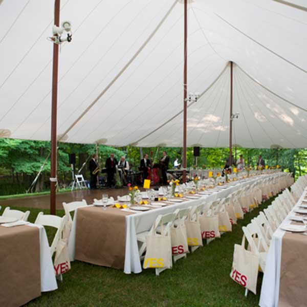 Banquet style tables can seat many people in a small area. Table & Chair Rentals from Columbia Tent Rentals